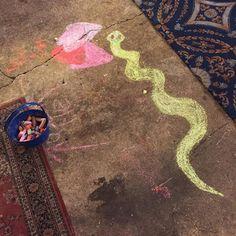 #frenchquarter #gregsantiques #streetart #whereilive #night #NewOrleans #chalkpaint #snakeart #art #artmarket by voodooesq