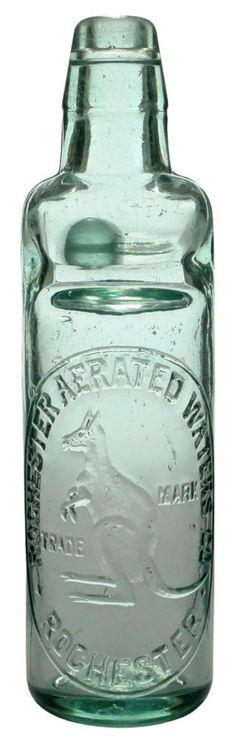 Antique Green Glass Codd Bottle W Marble Artis Capel