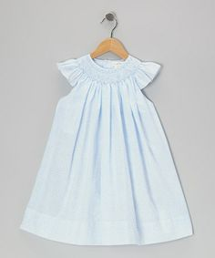 Take a look at this Blue Floral Smocked Angel-Sleeve Dress - Infant & Toddler by Petit Pomme on #zulily today!