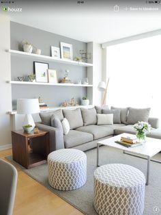 Living room. really like the built in floating shelves