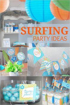 boy's surfing birthday party ideas www.spaceshipsandlaserbeams.com