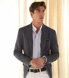 white collarless shirt + grey suit + brown belt + white pants