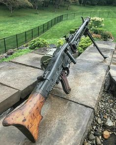 "The MG 42 (shortened from German: Maschinengewehr or ""machine gun is a Mauser general-purpose machine gun designed in Nazi Germany and used extensively by the Wehrmacht and the Waffen-SS."