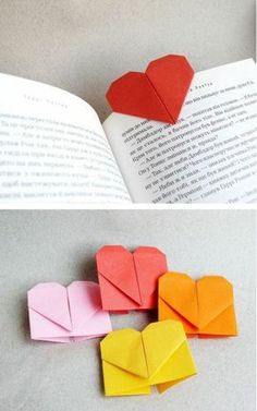 An Origami Heart Bookmark - This project is perfect for valentines day. Basically origami heart bookmarks will shout your love of reading to the world. Origami Diy, Origami Paper, Diy Paper, Paper Art, Paper Crafts, Origami Things, Origami Lamp, Paper Book, Foam Crafts