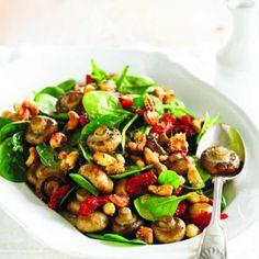 Roasted Mushrooms, Tomato & Cashew Salad  #PowerofMushrooms