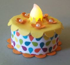 Mini birthday cake with a battery operated tealight. www.crazystampinglady.blogspot.com Maureen Rauchfuss