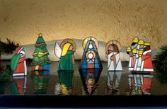 Nativity candle holders made out of Tiffany glass.