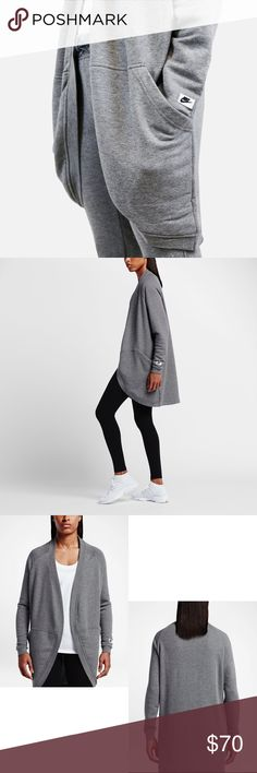 Nike Modern Sweatshirt Cardigan •The Nike Sportswear Modern Women's Cardigan lets you layer comfortably with its soft, lightweight cotton blend. Fabric: 52% cotton/29% polyester/19% rayon.  •Size Large, oversized fit. Will work for a L/XL or 10/12.  •New with tag.  •NO TRADES/HOLDS/PAYPAL/MERC/VINTED/NONSENSE. Nike Sweaters Cardigans