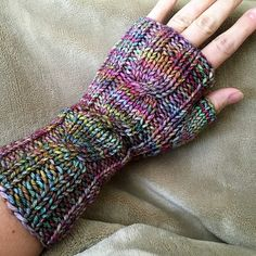 One Cable Mitts by Valerie Teppo | malabrigo Rios in Arco Iris