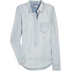 c4e9667822 J.Crew Crosshatch chambray shirt ( 60) found on Polyvore Light Denim Shirt