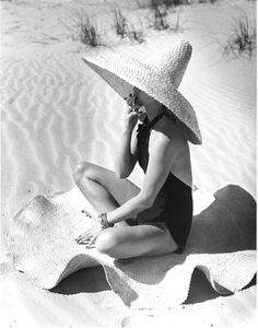 beach, beach hat, one piece bathing suit