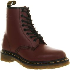 DR. MARTENS 1460 8-eye leather boots (€135) ❤ liked on Polyvore featuring shoes, boots, cherry red, dr martens shoes, lace up boots, low heel boots, lace up shoes and dr martens boots