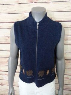 Woolrich vest 100% wool womens size M blue bear fish applique casual zip front #Woolrich #Casual