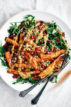 Spicy Roasted Carrots with Tahini Lentil Salad | Occasionally Eggs | Pinned to Nutrition Stripped | Salad