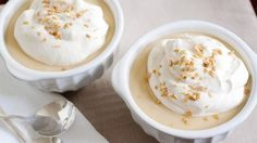 Homemade butterscotch pudding is given a fall makeover, thanks to a topping of whipped cream made with real maple syrup. For an added punch add at taste of whiskey to the pudding.