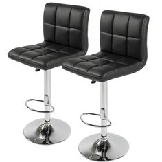 """LTL BlackSet of 2 PU Leathe Barstools Chair Adjustable Counter Swivel. Product Dimensions: 17.5""""(W) x 17.5""""(D) x 35-44""""(H). Seat Dimensions: 15"""" (L) x 17.5"""" (W) x 21.5 - 30"""" (H). Back Rest Height: 15.5"""". Cushion Thickness: 2"""" , Base Diameter: 16"""". Weight Capacity: 250 lbs. , Foot Rest Length: 12""""."""