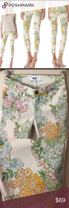"Paige Denim Verdigo Jeans in Flea Market Floral Super cute Floral skinny ankle jeans!! Minimal wear, Cotton Elastane=Stretch, inseam 29"". Great for Spring Summer!! Paige Jeans Jeans Skinny"