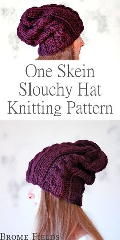 Knitting Patterns Hat One Skein Hat Knitting Pattern : Commitment by Brome Fields Loom Knit Hat, Crochet Slouchy Hat, Loom Knitting, Knitting Stitches, Crochet Yarn, Knitted Hats, Crochet Pattern, Slouch Hats, Tejidos
