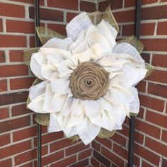 Ivory Burlap Sunflower Wreath, Shabby Chic Wreath, Sunflower Wreath  $64.00