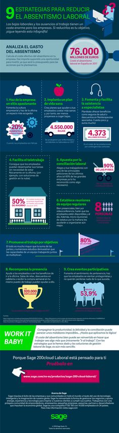 9 estrategias para reducir el absentismo laboral #infografia  #rrhh