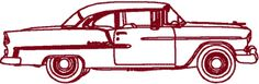 Redwork Classic Automobile: 1955 Chevy Belair Sport Coupe Embroidery Design