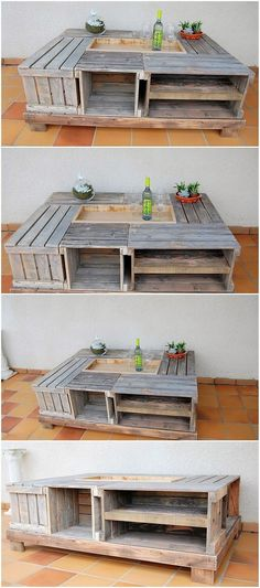 How beautifully this wood pallet table with storage box has been created out for your important storage purposes! You just need to arrange the wood pallet durable planks over the top so that it can come up with the captivating effect of the square shaped design of the table with storage.