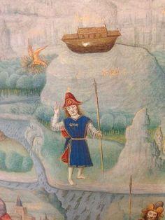 Detail from Mappa Mundi in Jean Mansel, La Fleur des Histoires.  Valenciennes, 1459 - 1463