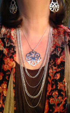 """A real eye catcher Hammered """"Eden"""" necklace and earrings with Italian made """"High Authority necklace"""