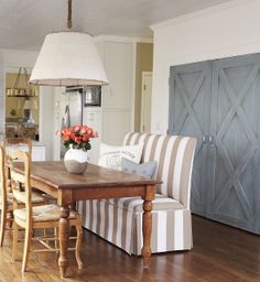 love the barn door style pantry doors painted with chalk paint blues...Lisa Gabrielson Design: