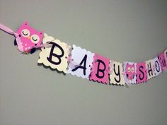 Baby Shower Banner Owl Baby Shower Banner  Pink by wittypaper