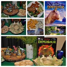 Disney Dinner and a Movie Night Dinosaur Party. We had dinosaur chicken nuggets, homemade dinosaur tortilla chips with hummus, herbivore food (salad and broccoli), dinosaur eggs (baked potatoes) and water with glowing asteroids. For dessert we had a Disney Dinosaur character cupcake or a dinosaur print cookie. Snack during the movie was dinosaur gummy snacks, dinosaur raptor claws (Bugles) or meteors (yogurt covered raisins.) We also watched Jurassic World after our little one fell asleep.