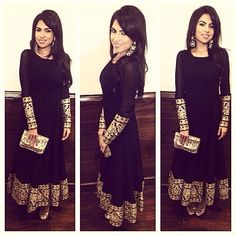 Simple black anarkali, gold embellishments. Needs a different colored dupatta.
