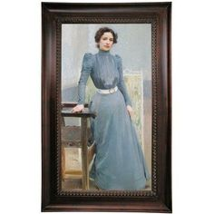 Astoria Grand 'Portrait of His Wife Clotilde in a Grey Dress 1900' Framed Oil Painting Print on Canvas Format: