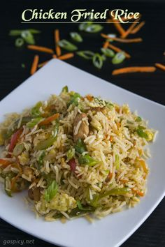 Chicken Fried Rice - Cooked basmati rice tossed together with fried chicken, scrambled eggs, mixed vegetables, garlic and soy sauce in a wok/fry pan over high flame. Rice Recipes, Indian Food Recipes, Chicken Recipes, Cooking Recipes, Recipies, Easy Cooking, Okra Recipes, Chicken Meals, Curry Recipes