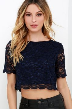 When You Believe Navy Blue Lace Crop Top at Lulus.com!