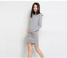 Plus Size Women Sweater Cashmere Knitted Winter Warm dress with pocket pullovers Ladies Long sweater