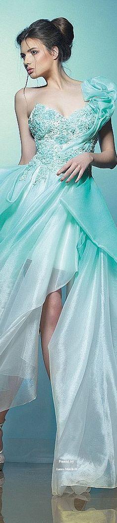 Beautiful ice-blue aqua gown ~ Saiid Kobeisy Spring-summer 2015