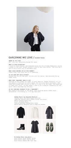 Garçonne We Love: Audrey Rose/  Acne Studios / Halee Bomber Jacket Acne Studios / Patti Poplin Shirt Acne Studios / Needle Wet Cash Jean