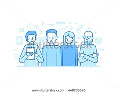 Vector illustration in trendy flat linear style - creative team - businessman, copywriter, graphic designer and programmer - human resources and teamwork concept for banner or landing page