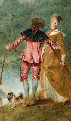 The Embarkation for Cythera (detail), Antoine Watteau, 1717