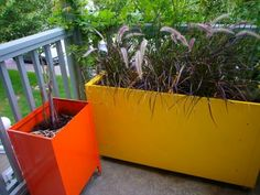 Continuing on the planter front, how cool are these colorful porch containers? Shots of orange and yellow can be seen from the street, bound to increase curb appeal. This homeowner has many great tips, from where to find an old filing cabinet to how to get away with not having to fill the larger one with tons of dirt. My favorite touch: adding wheels.