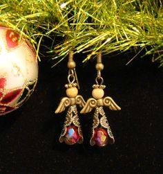 Antiqued Gold & Jasper Bead ANGEL Earrings $7.00
