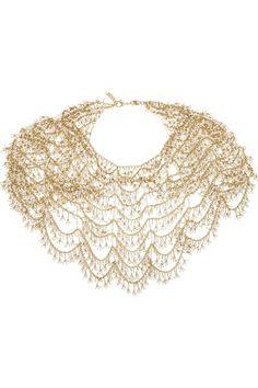 Rosantica - Gold-dipped freshwater pearl collar