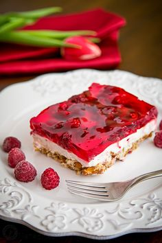 This Raspberry Pretzel Jello Salad is a sweet & savory treat that can be served as a dessert or side dish! You will have zero self-control around this dish.