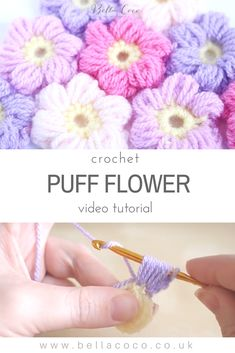 Easy video tutorial and FREE written pattern for the crochet puff flower | Bella Coco