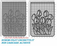 Free filet crochet pattern curtains with tulips flowers
