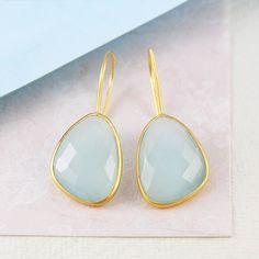 Aqua Chalcedony Irregular Gemstone Gold Earrings