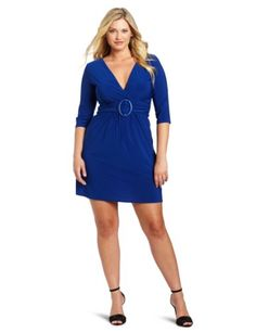 4667f3319a Star Vixen Women s Plus-Size 3 4 Sleeve O-Ring Dress