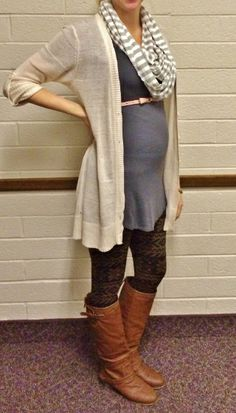 fall winter maternity style, long cream sweater, pink skinny belt, printed leggings, grey tunic, ridding boots, circle scarf