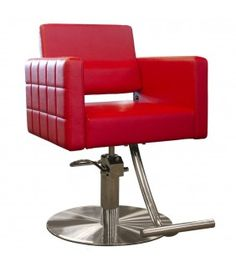 The Evora II styling chair is shown in red with round stainless steel base. Salon Styling Chairs, Salon Chairs, Minerva Beauty, Barber Chair, Foot Rest, Seat Cushions, Salons, Stainless Steel, Red